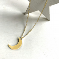 Personalised Gold Crescent Moon Necklace, half moon necklace