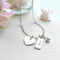 Personalised Sterling Silver Heart, Pearl and 'love' Mini Bar Necklace