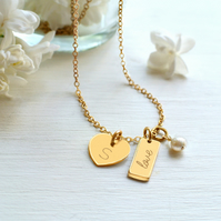 Personalised Gold Tiny Heart, Freshwater Pearl and 'love' Mini Bar Necklace