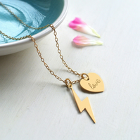 Personalised Gold Lightning Bolt and 'love' Heart Necklace, Valentine's Day gift