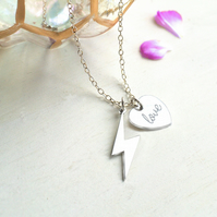 Personalised Sterling Silver Lightning Bolt and 'love' Heart Necklace