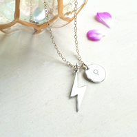 Personalised Sterling Silver Lightning Bolt and Initial Disc Necklace