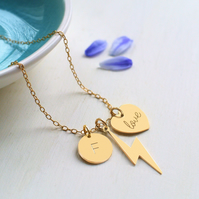 Personalised Gold Lightning Bolt, love Heart & Initial Disc Necklace