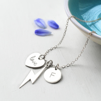 Personalised Sterling Silver Lightning Bolt, love Heart & Initial Disc Necklace