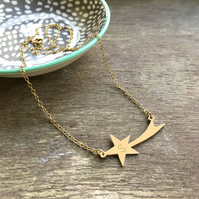 Personalised Gold Shooting Star Necklace, Valentine's Day gift
