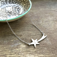 Personalised Sterling Silver Shooting Star Necklace, Valentine's Day gift
