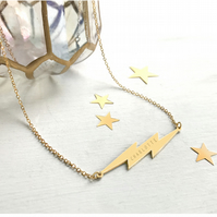 Personalised Gold Lightning Bolt Necklace, Valentine's gift