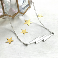 Personalised Sterling Silver Lightning Bolt Necklace, Valentine's Day gift