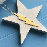 Personalised Gold Vertical Lightning Bolt Necklace, Valentine's Day gift