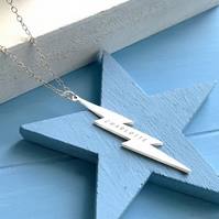 Personalised Sterling Silver Vertical Lightning Bolt Necklace, Valentine's gift