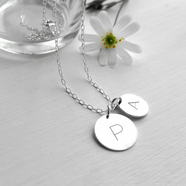 Personalised Sterling Silver Double Initial Disc Pendant Necklace, disc necklace