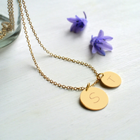 Personalised Gold Double Initial Disc Pendant Necklace, Valentine's Day gift