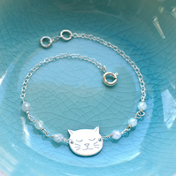 Personalised Sterling Silver Little Cat Face and Moonstone Bracelet