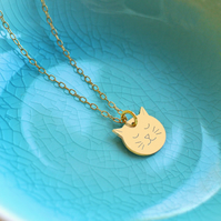 Personalised Gold Little Cat Face Necklace, cat necklace, gift for cat lovers
