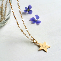 Personalised Gold Little Star Initial Necklace, Valentine's Day gift