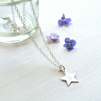 Personalised Sterling Silver Little Star Initial Necklace, Valentine's Day gift