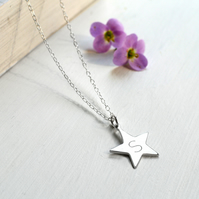 Personalised Sterling Silver Star Initial Necklace, star necklace