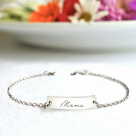 Personalised Sterling Silver Little Bar Mama Script Bracelet , Mother's Day gift