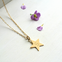Personalised Gold Star Initial Necklace, star necklace, initial necklace