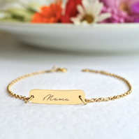 Personalised Gold Little Bar Script Mama Bracelet, Mother's Day gift