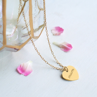Personalised Gold 'mum' Heart Pendant Necklace, Mother's Day gift, birthday gift