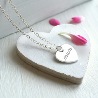 Personalised Sterling Silver 'mum' Heart Pendant Necklace, Mother's Day gift