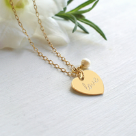 Personalised Gold 'love' Heart and Freshwater Pearl Necklace, Valentine's gift