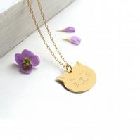 Personalised Gold Cat Face Necklace, cat necklace, gift for cat lovers