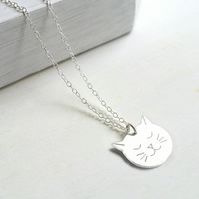 Personalised Sterling Silver Cat Face Necklace, cat necklace