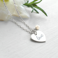 Personalised Sterling Silver 'love' Heart and Freshwater Pearl Necklace