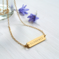 Personalised Gold Little Name Bar Necklace, Valentine's Day gift, anniversary gi