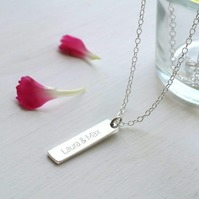 Personalised Sterling Silver Little Vertical Bar Necklace, Valentine's Day gift