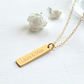 Personalised Gold Little Vertical Bar Necklace, Valentine's Day gift