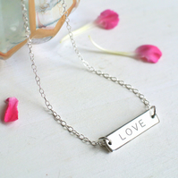 Personalised Sterling Silver Little 'LOVE' Bar Necklace, Valentine's Day gift