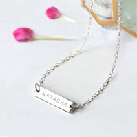 Personalised Sterling Silver Little Name Bar Necklace, Valentine's Day gift