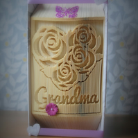 Grandmas roses handmade folded book art. Ideal gift for any occasion