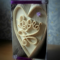 Swirly Love handmade folded book art. Ideal gift for any occasion.