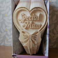 Special Mum completed handmade folded book art. Ideal gift for any occasion