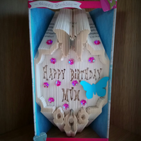 Happy Birthday Mum handmade folded book art. Ideal gift for any occasion