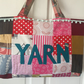 Knitting bag, knitting tote, patchwork knitting bag.