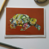 Tortoise on brown background Greetings Card