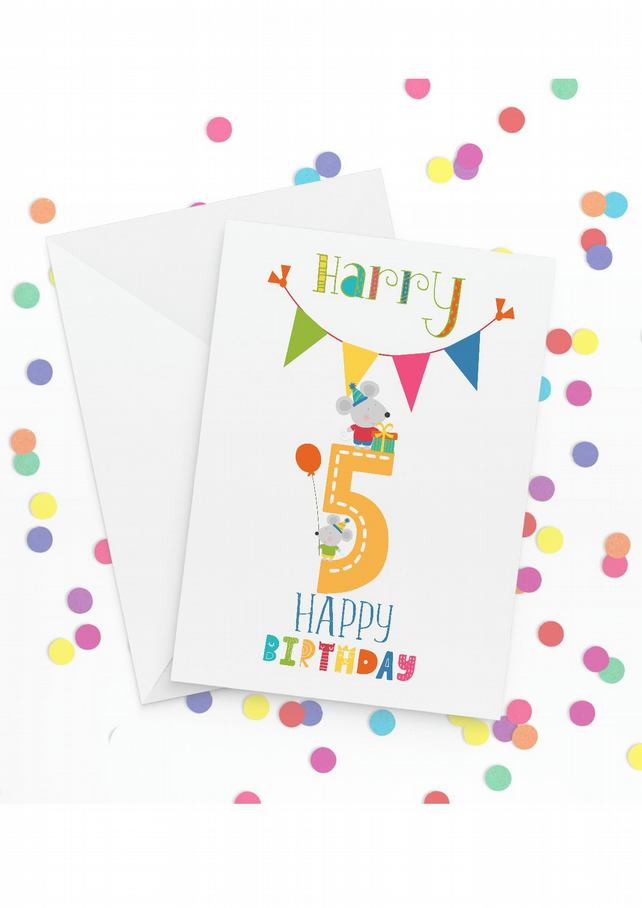 Personalised 5th Birthday Card