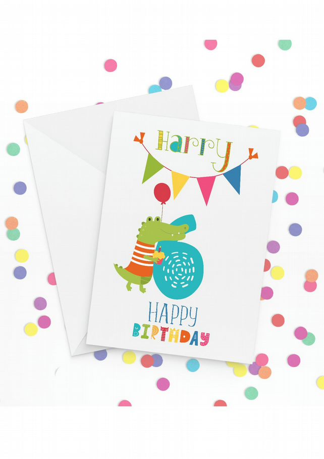 Personalised 6th Birthday Card