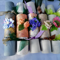 Up-cycled fabric, re-useable crackers - set of six, Spring collection.