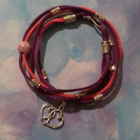 Pink and Purple Handmade Wrap Bracelet