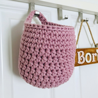 Crochet hanging basket, recycled cotton