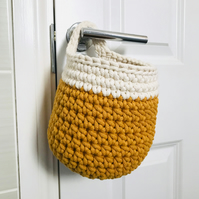 Two tone crochet hanging basket, recycled cotton