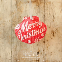 Hanging Merry Christmas Red Giant Scallop Shell Decoration by Netties Shells