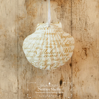 Hanging Christmas Writing Giant Scallop Shell Decoration by Netties Shells