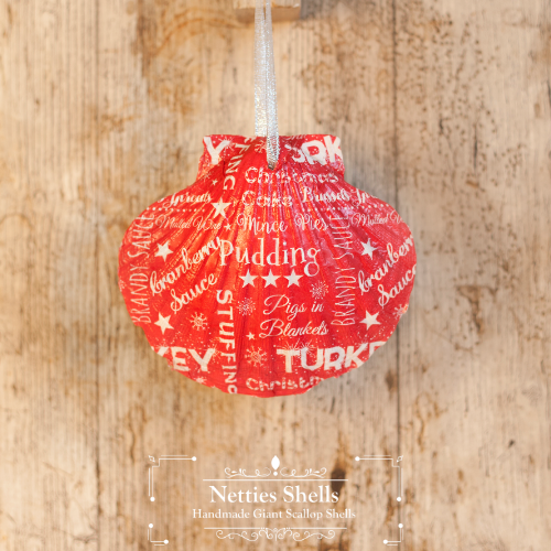 Hanging Christmas Red Writing Giant Scallop Shell Decoration by Netties Shells
